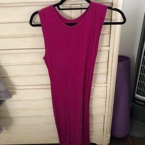 Slit pink summer dress